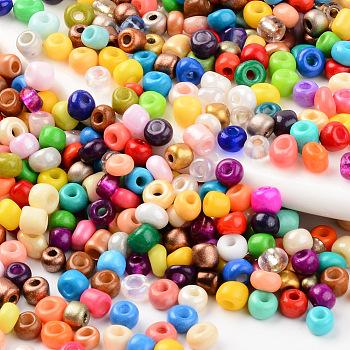 6/0 Perlas de semillas de vidrio, estilo mezclado, agujero redondo, redondo, color mezclado, 6/0, 3.5~5x3~5mm, agujero: 1.2 mm, aproximamente 450 g / bolsa