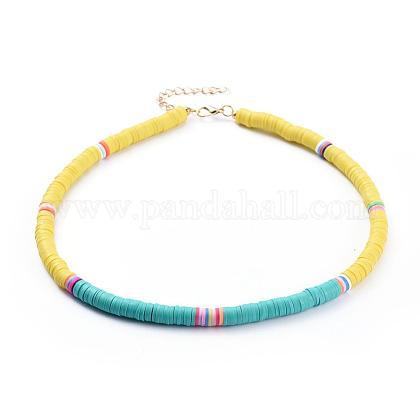 Collares hechos a mano de arcilla polimérica con cuentas de gargantilla heishiNJEW-JN02722-02-1