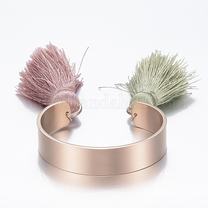 Trendy 304 Stainless Steel Cuff BanglesBJEW-H703-01RG-1