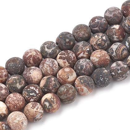Cuentas de jaspe de piel de leopardo rojo natural hebrasG-T106-107-1
