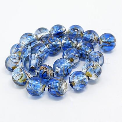 手作りの銀箔ガラスランプワークラウンドビーズ連売りFOIL-L008-01A-1