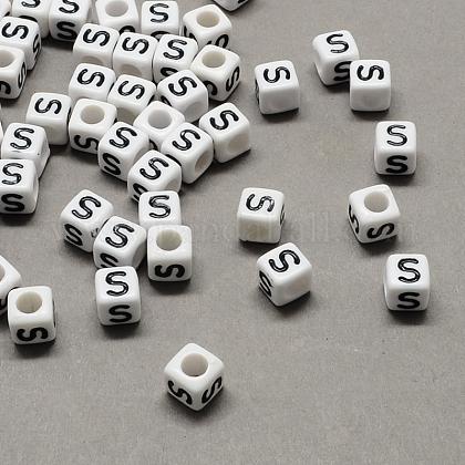 Gran agujero acrílico letra cuentas europeasX-SACR-Q103-10mm-01S-1