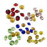 Конусные стеклянные стразы, граненых алмазов, с покрытием на задной стороне, разноцветные, 2x2 мм ; около 1440 шт / мешок