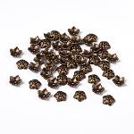 チベット風ビーズキャップ, 鉛フリーとニッケルフリー, 5花びら, 花, アンティークブロンズ, 10x4mm, 穴:1mm