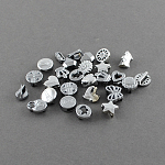 Zinc Alloy Slide Charms, Lead Free & Nickel Free, Mixed Style, Platinum, 6.5~10x3~10x5~6mm, Hole: 6x1.5mm