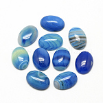 Natural Striped Agate/Banded Agate Cabochons, Dyed, Oval, DodgerBlue, 18x13x5mm
