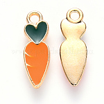 Alloy Enamel Pendants, Carrot, Light Gold, Dark Orange, 16x5x1.5mm, Hole: 1.5mm