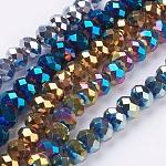 電気メッキガラスビーズ連売り, 多面カット, ロンデル, ミックスカラー, 6x5mm, 穴:1mm、約90~93個/連, 17.7