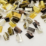 Mixed Iron Ribbon Crimp Ends, Lead Free, Mixed Color, 7x10mm, Hole: 2mm