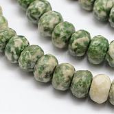 Facette tache verte naturelle jaspe rondelle perles brins, 8x5mm, trou: 1mm; environ 76 pcs/chapelet, 15.2