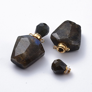 Faceted Natural Labradorite Openable Perfume Bottle Pendants, Essential Oil Bottles, with Golden Tone 304 Stainless Steel Findings, 37.5x23x13.5mm, Hole: 1.8mm; Capacity: about 2ml(0.06 fl. oz)