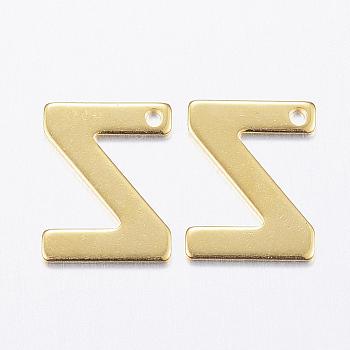 Encantos de 304 acero inoxidable, letter.z, dorado, 11x8.5x0.8mm, agujero: 1 mm