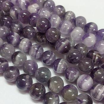 Perles en pierres gemme, Grade B améthyste naturelle, ronde, violet, 8mm, trou: 1mm; environ 50 pcs/chapelet