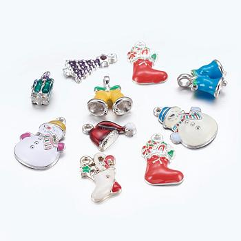 Alloy Enamel Pendants, for Christmas Day, Mixed Shapes, Mixed Color, 13~24x7.5~17.5x1.5~6mm, Hole: 1~2.5mm