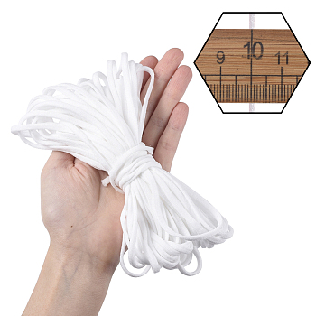 Flat Nylon Elastic Hollow Band, for Mouth Cover Ear Loop Elastic Cord, for DIY Sewing Crafts, Disposable Mouth Cover Material, White, 4mm