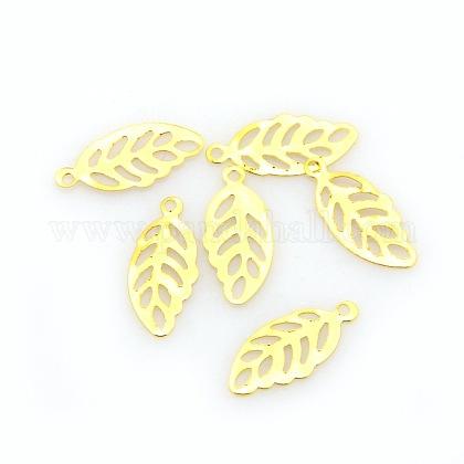 Iron Etched Metal Embellishments Leaf Charms PendantsKK-O015-25-1