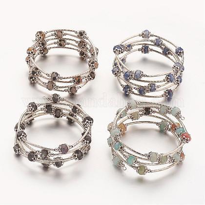 Natural Gemstone Wrap BraceletsBJEW-JB02649-1