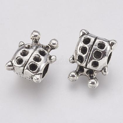 Tibetan Style Alloy European Bead Rhinestone SettingsTIBE-T011-166AS-FF-1