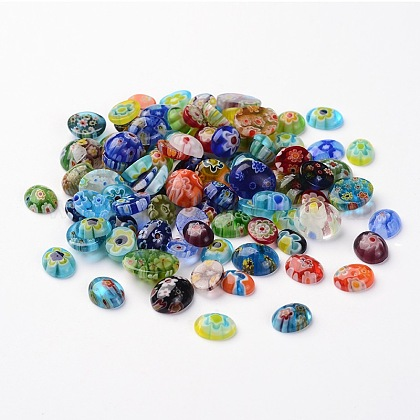 Oval Millefiori Glass CabochonsLK-P028-06-1