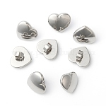 304 Stainless Steel Heart Slide Charms, Stainless Steel Color, 12x14x9mm, Hole: 4mm