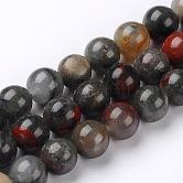 Naturales africanos abalorios bloodstone hebras, perlas de piedra heliotropo, redondo, 8mm, agujero: 1 mm; aproximamente 46~48 unidades / cadena, 15.74