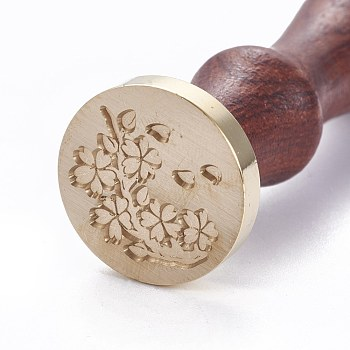 DIY Scrapbook, Brass Wax Seal Stamp and Wood Handle Sets, Flower Pattern, Golden, 8.9cm; Stamps: 2.55x1.4cm