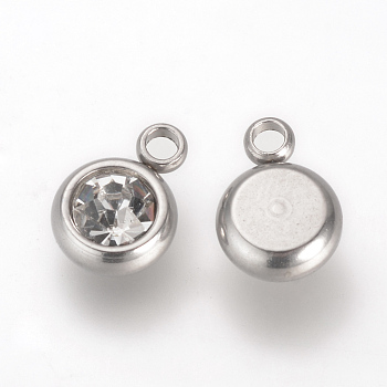 303 Stainless Steel Rhinestone Charms, Flat Round, Crystal, 8.5x6x3mm, Hole: 1.5mm