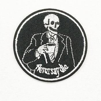 Компьютеризированная вышивка тканью утюжок на / шить на заплатках, аксессуары для костюма, аппликация, плоский раунд со скелетом, черные и белые, 69 мм