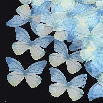 Organza Fabric, For DIY Jewelry Making Crafts, Butterfly, SkyBlue, 37x50.5mm