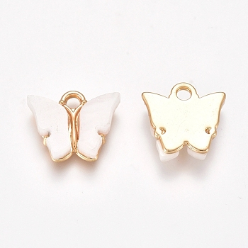 Acrylic Pendants, with Light Gold Plated Alloy Findings, Butterfly, White, 12.2x14.2x3.2mm, Hole: 1.8mm