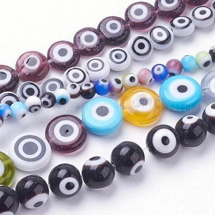 Handmade Evil Eye Lampwork Beads StrandsLAMP-E017-06-1