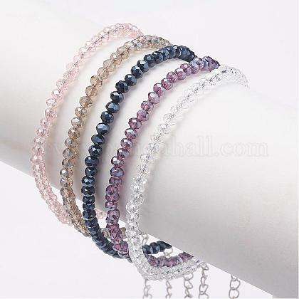Pulseras de perlas de cristal facetadasAJEW-AN00196-1