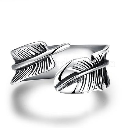 Fashionable Unisex 316L Stainless Steel Feather Cuff RingsRJEW-BB09945-9-1