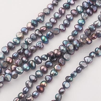 Hebras de perlas de agua dulce cultivadas naturales electrochapadasPEAR-G007-07-1