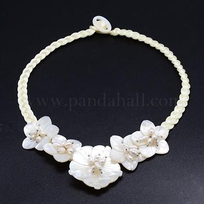 Flor natural perlas perlas babero collares declaraciónNJEW-P117-06A-1