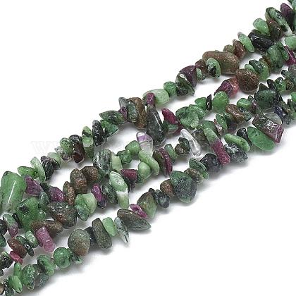 Rubí natural en hebras de abalorios zoïsiteX-G-S315-14-1