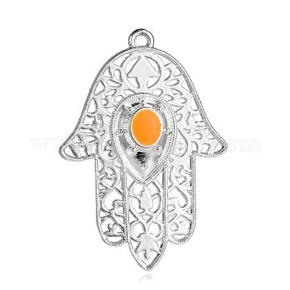 Silver Color Plated Alloy Enamel Hamsa Hand/Hand of Fatima/Hand of Miriam Big PendantsENAM-E285-05S-1