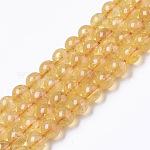 Cuentas naturales de citrino hebras, redondo, 8mm, agujero: 0.9 mm; aproximamente 50 unidades / cadena, 15.35 pulgada (39 cm)