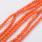 Natural Mashan Jade Bead Strands, Round, Dyed, OrangeRed, 4mm, Hole: 0.7mm; about 98pcs/strand, 16