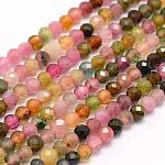 Natural Tourmaline Beads Strands, Grade AA, Faceted, Round, 4mm, Hole: 0.5mm; about 96pcs/strand, 15.7