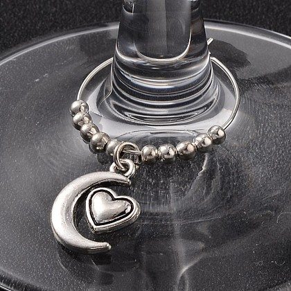 Tibetan Style Alloy Heart with Moon Wine Glass Charms AJEW-JO00130-02-1