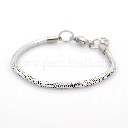 304 Stainless Steel European Style Round Snake Chains Bracelets STAS-J015-01-1