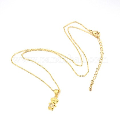 Human Real 18K Gold Plated Alloy Micro Pave Cubic Zirconia Pendant NecklacesNJEW-H416-02G-1