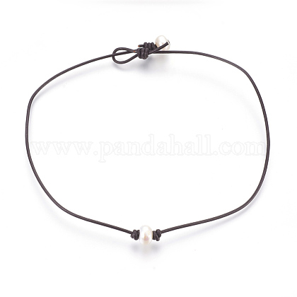 Cowhide Leather Cord Choker NecklacesNJEW-JN02248-1