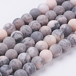 Natural Pink Zebra Jasper Beads Strands, Frosted, Round, 6mm, Hole: 0.8mm, about 63pcs/strand, 15.3 inches(39cm)