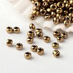 Perles de rocaille en verre fgb® 12/0, Grade a, perles de couleurs métalliques, cuivre plaqué, 2x1.5mm, trou: 0.5 mm; environ 45000 pièces / livre