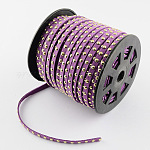 Faux Suede Cord, Faux Suede Lace, with Golden Alloy Rivet, for Punk Rock Jewelry Making, BlueViolet, 6x2.5mm; 50yards/roll(150 feet/roll)