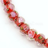 Handmade Gold Sand Lampwork Rondelle Beads Strands, Faceted, Red, 10x7mm, Hole: 2mm; about 50pcs/strand, 13.77