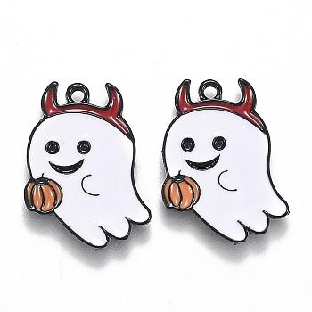 Подвески из сплава с эмалью на тему Хэллоуина, белый призрак с тыквенным фонарем, электрофорез черный, 21.5x17x1.5 мм, отверстие : 1.6 мм