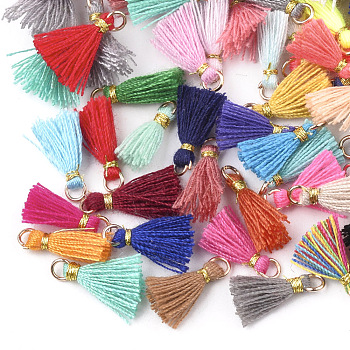 Polycotton(Polyester Cotton) Tassel Pendant Decorations, Mini Tassel, with Iron Findings and Metallic Cord, Light Gold, Mixed Color, 10~15x2~3mm, Hole: 1.5mm